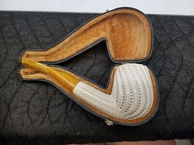 Hand Carved Wooden Pipe with Case Made in Turkey