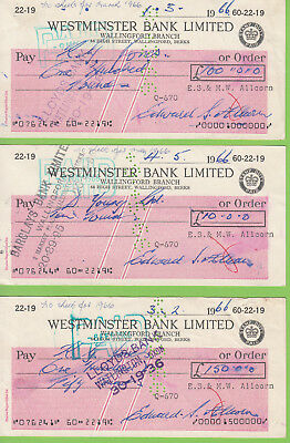 3 x Westminister Bank Cheques 1966