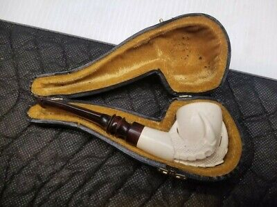 Hand Carved Claw Wooden Pipe with Case