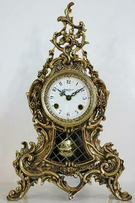 CHIMING MANTEL CLOCK by GRANT, LONDON golden rococo case CHIMES on BELLS modern