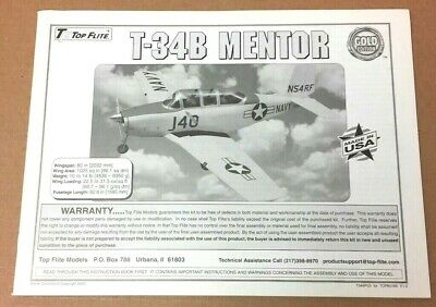 Top Flite Canopy Beechcraft T-34B Mentor 2-Pieces CANPY123 /& CANPY124 Brand NEW