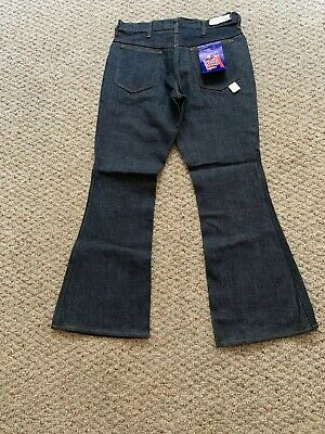 """NOS Vtg 60's 70's Sears Kings Road 11"""" BELL Flare Bottom Rigid Jeans 33x31 NWT"""