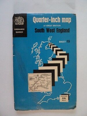 Ordnance Survey Map SW England1966 Taunton Exeter Plymouth Newquay Minehead Bud