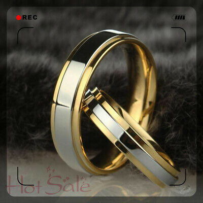 Simple 316L stainless steel wedding ring gold-plated engagement jewelry ring