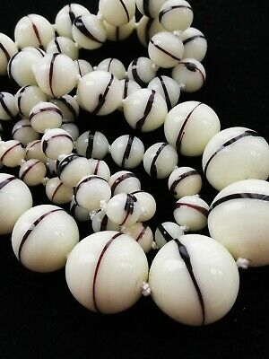 Gorgeous old antique Milky white banded striped graduated glass beads necklace
