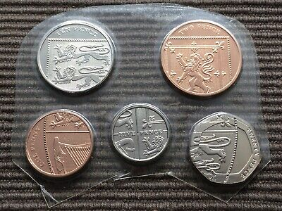 2009 BUNC part shield set 5 small coins 1p 2p 5p 10p 20p Royal Mint pence BU