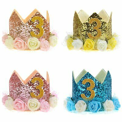 Baby Birthday Crown Hat 1st 2nd 3rd Cake Smash outfit Party Photoshoot Girls AS