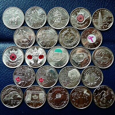 23 Canada 1973-2017 Commemorative 25 Cent Coins Colored & Frosted Set A