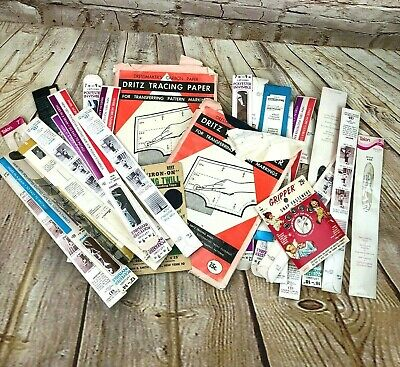 Lot of Vintage zippers sewing supplies Dritz tracing paper mending twill
