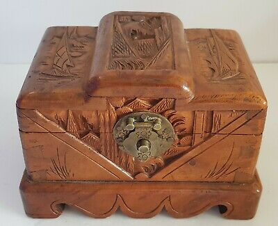 Vintage Chinese Deco Style Camphor Wood Jewellery Box