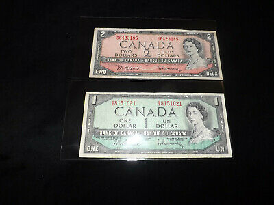 Bank Of Canada Lot - 1954 $2.00 & $1.00 Notes =.
