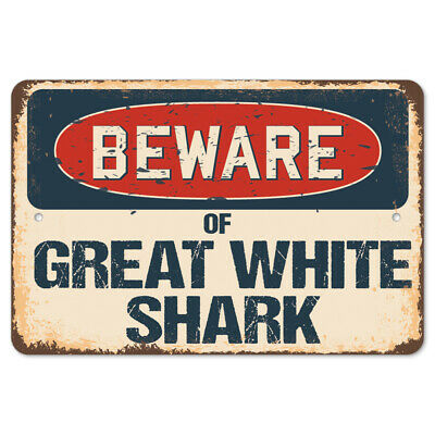 Beware Of Great White Shark Rustic Sign SignMission Classic Plaque Decoration