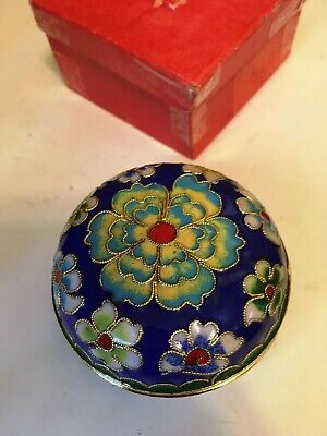 """Vintage Chinese Cloisonné  Trinket Box Jewelry Gift Floral Enamel Asian 2-3/4"""""""