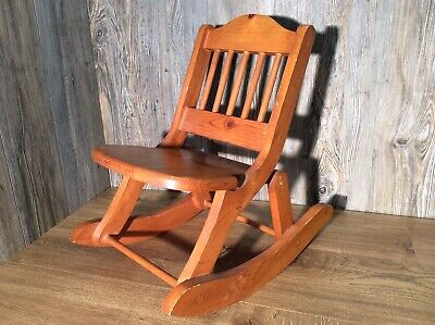 Vintage Solid Wood Childs Folding Rocking Chair Doweled Solid Pine E5