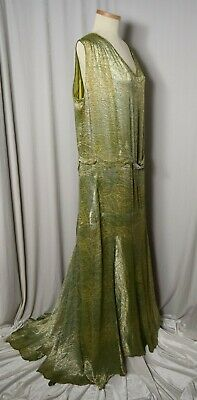 a37e79bc5ff408 VINTAGE 1920's METALLIC SILVER GREEN DANCE FISHTAIL COUTURE DRESS - LARGER  SIZE