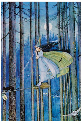 Repro Postcard - Witch on Broomstick, Blue Forest, Full Moon, Owl, Cat Halloween