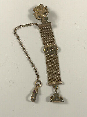 Antique Gold Fill Ladies Victorian mesh chain watch clock pocket fob #2