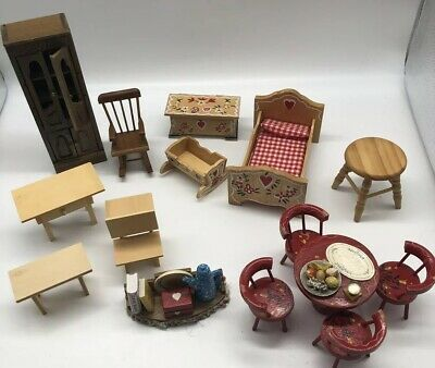 Mixed Lot 15 Pieces Dollhouse Furniture Rocking Chair Table Some Vintage
