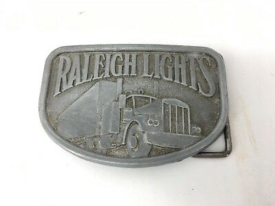 Vintage Raleigh Lights Cigarettes Semi Tractor Trailer Truck Belt Buckle