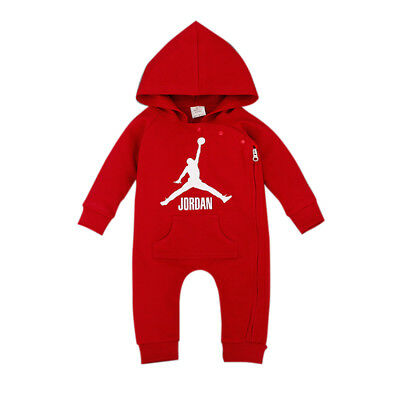 Baby Jordan 23 Romper +Hat Boy Girl Babygrow Outfits Clothes Red 0-3 Months