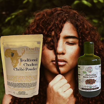 CHEBE POWDER 50g and 250ml Jamaican Black Castor Oil -NATURAL HAIR GROWTH