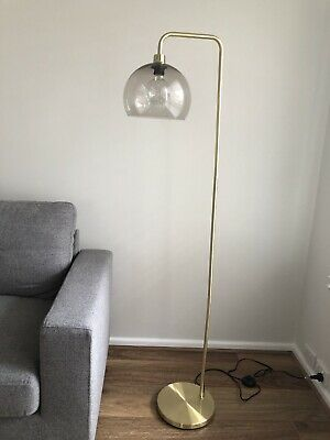 Brass Look Floor Lamp * As New In Box * with vintage style globe
