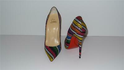 b4d61ac62ef AUTHENTIC NEW LOUBOUTIN 38 Dolly Party 120 Nuit Suede Chain $2500 ...