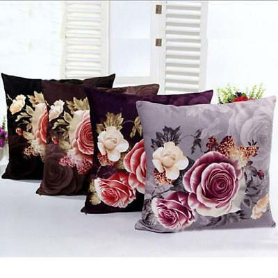 Rose Peony Flower Cushion Cover Home Sofa Car Throw Pillow Case Protector HY