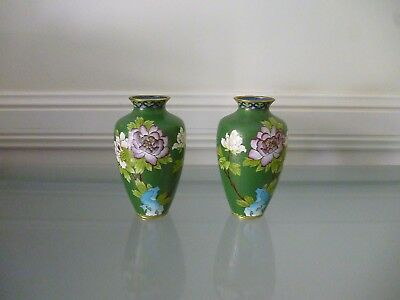 A pair of floral patterned Chinese CLOISONNE vases ~