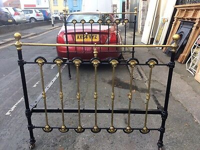 Original Antique Victorian, cast iron and brass, double Bed.