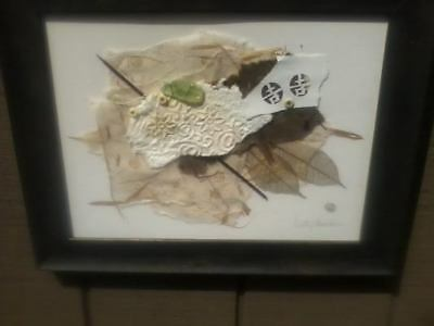 Vintage KATHY SHELDON Michigan Mixed Media Collage Framed & Signed Listed Artist