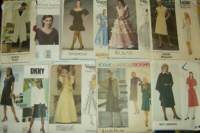 Lot of 9  Vintage Vogue Paris Couturier American Designer Sewing Patterns