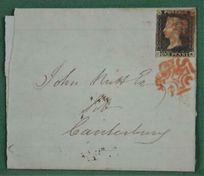 GB STAMP VICTORIA 1d PENNY BLACK ON COVER ENTIRE TO CANTERBURY 1841  (K36)