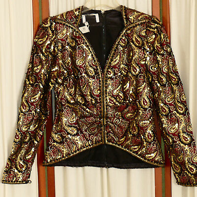 Women's Top Jacket EVENING Dressy Sequins Beads Gold Black Burgundy Red 6
