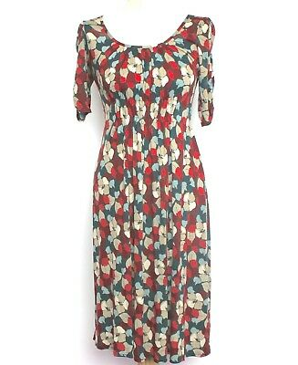NWT Womens EAST Floral S/S Vintage 40s WW2 Style Tea Dress RRP £79 UK 8