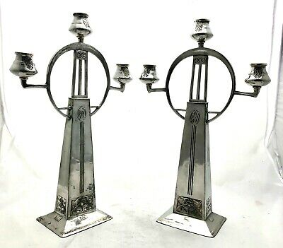 very large wmf art nouveau secessionist pewter candelabra 80/3