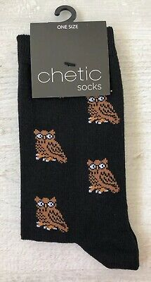 Ladies/Girls Black With Small Brown Owls On Cotton Ankle Socks