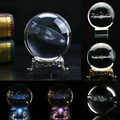 60mm 3D Engrave Solar System Ball Clear Glass Crystal Ball Planets Sphere Decor