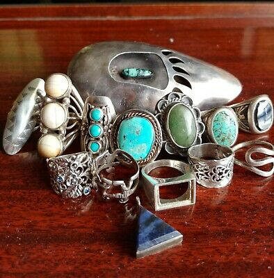 Premium Lot Of Vintage Sterling Silver Native American Rings Buckle Signed Pcs!