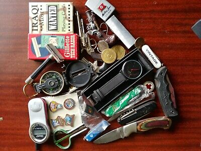 Nice Junk Drawer Lot Of Knives Lighters Vintage Toys Watch Razor Pins Coins