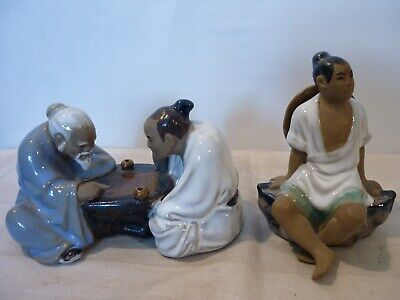 Chinese Shiwan Mud Men x 2 Playing Board Game 1 x Sitting Boy.