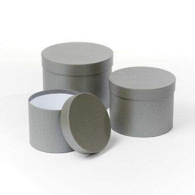 SET OF 3 ROUND OASIS SYMPHONY LINED HAT BOXES GREY Cylinder Flowers Gifts Crafts