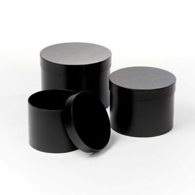 SET OF 3 ROUND OASIS SYMPHONY LINED HAT BOXES BLACK Cylinder Flower Gifts Crafts