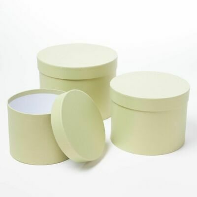 SET OF 3 ROUND OASIS SYMPHONY LINED HAT BOXES SAGE GREEN Flowers Gifts Crafts