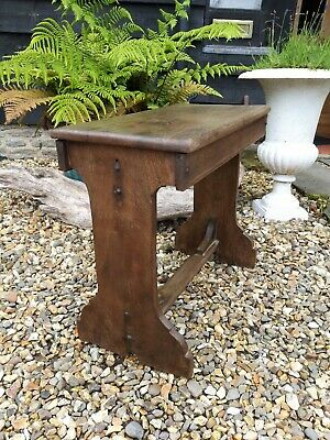 A Super Nice Arts And Crafts Walnut Boarded Stool Table Coffee Lamp Table
