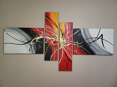 Modern Contemporary Abstract Hand Painted Oil on Canvas 4-Piece Wall Art