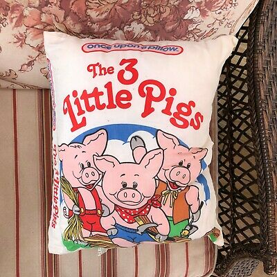once upon a time three little pigs pillow child bedding story time book soft