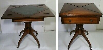 Antique Mahogany Edwardian Folding Envelope Top English Card Game Table Casters