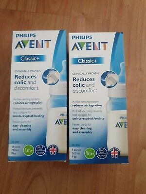 Philips Avent Classic+  x 2  wide-neck bottles 1m+. Reduces colic and discomfort