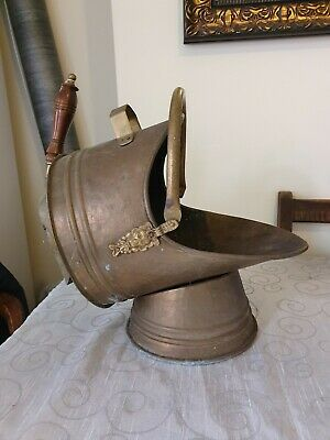 Large Brass Coal Scuttle With Shovel